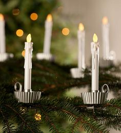 Battery powered Tree Clip Candles, Set of 6 $12.99/$19.95 regularly in pewter or brass. Get 8 sets.