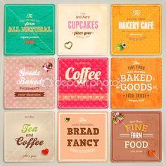 conjunto de rótulos de padaria retrô, fitas e cartões para o projeto vintage, texturas de papel antigo — Ilustração de Stock #22363465