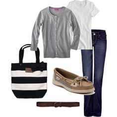 3.27.13 - work. jeans - true religion, white shirt - j.crew, grey cardigan - merona (target), tote - abercrombie & fitch, belt - abercromibe & fitch, shoes - sperry