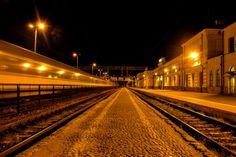 Railway station Bialystok on night