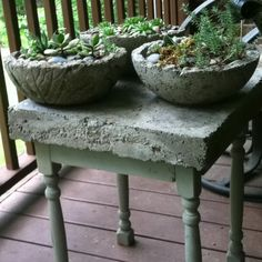 Hypertufa pots and table