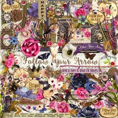 A rustic bohemian style scrapbook collection from Raspberry Road Designs.