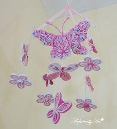 Quilled butterfly crib mobile, baby girl décor, pink mobile, shower gift, uncommon handmade, paper mobile, nursery decoration, girl room