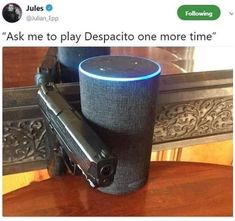When Pewds tells Alexa to play despacito. Best Memes, Dankest Memes, Funny Memes, Hilarious, Jokes, Stupid Memes, Funny Posts, Dumb And Dumber, The Funny