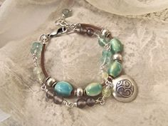Hill Tribe Silver Om Bracelet on Leather Cord SOLD