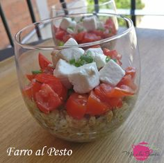 farro al pesto spelled with pesto feta cheese and tomatoes