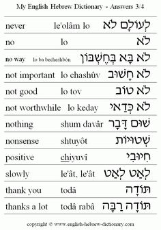 English to Hebrew: Answers Vocabulary: never, no, no way, not important, not good, not worthwhile, nothing, nonsense, positivie, slowly, thank you, thanks a lot