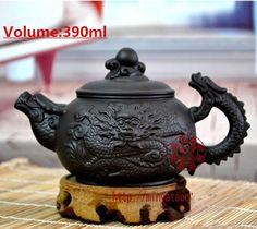 Chinese big tea pot zisha purple clay tea set zi ni tea pot 390ml dragon design