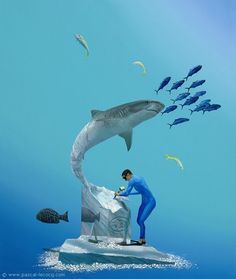 "CARVING THE TIGER portrait of Sculptor Victor Douieb - oil on canvas by Pascal Lecocq The Painter of Blue  24""x20"" 61x51cm 2012 lec849 priv.coll. Los Angeles CA.  pascal lecocq Available as print on paper. #tigershark #art #blue #painterofblue #painting #painter #artist #contemporaryartcurator #artstack #artisticallysocial #artcartridge #artcollectae #glarify #in #pint. Published in InVertum (Russia 2012) cover of 2014 Digital Trade Publication & Directory (Usa 2014)"