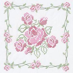 """Stamped White Quilt Blocks 18""""X18"""" 6/Pkg-Rose Bouquet"""