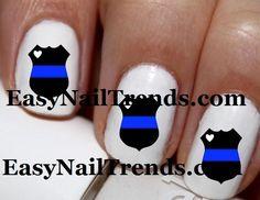 Line Art Nails : Law enforcement support nails thin blue line policelivesmatter