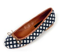 XRB-779 Navy and White Check Needlepoint Ballet Flat-Wo, by By Paige - By Paige on Taigan