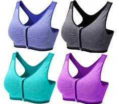 82556f8e82da4 BRABIC Womens Sport Bras Zipper Padded High Impact Support Seamless Pack of  4 M BluePurpleGreyGreen     Learn more by visiting the image link.