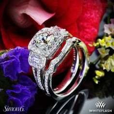 Simon G Three Stone Passion Halo Diamond Engagement Ring. Three Stone Engagement Rings, Three Stone Rings, Halo Diamond Engagement Ring, Love And Marriage, Diamond Jewelry, Wedding Bands, Heart Ring, White Gold, Gems