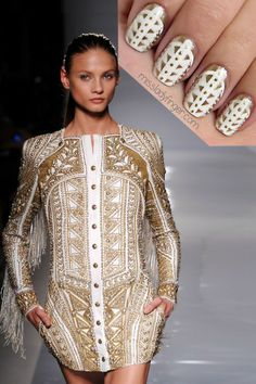 Balmain Spring 2012 RTW inspired nails. I'm obsessed with this idea.