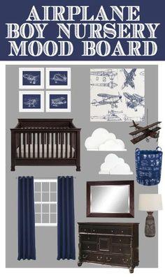 Airplane nursery mood board with DIY cloud bookshelves and FREE airplane sketch printables!