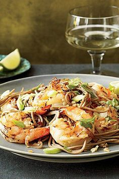 Garlicky, spicy and bright with lime, this noodle dish is both warming and energizing, according to Thai tradition. #shrimp #shrimprecipes #dinnerideas Best Shrimp Recipes, Cilantro Recipes, Wine Recipes, Seafood Recipes, Asian Recipes, Healthy Dinners, Healthy Food, Healthy Eating, Healthy Recipes
