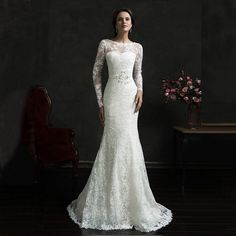 Find More Wedding Dresses Information about 2016 Vintage Sexy Bateau Backless Long Sleeve Lace Bridal Dress Appliques Cheap Custom Mermaid Wedding Dresses vestido de noiva,High Quality dress cocktail dress,China dress up dolls fashion Suppliers, Cheap dress party dress from Kaka Dresses on Aliexpress.com