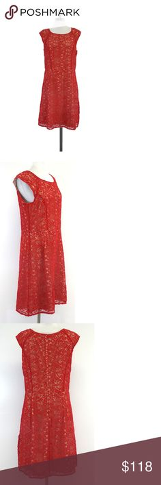 """Alice by Temperley- Red & Nude Eyelet Cap Sleeve Dress Sz 10 Size 10 Red & Nude Eyelet Cap Sleeve Dress Body 100% Cotton Lining 96% Polyester 2% Elastane Concealed back zip Scoop neckline Waist 33.5"""" Shoulder to Hem 38.75"""" London based designer, Alice Temperley specializes in creating irreverently feminine pieces by incorporating exclusive handcrafted prints, beading, and embroidery. Temperley's namesake line has become one of the most in-demand brands in the world. Fans include Scarlett…"""