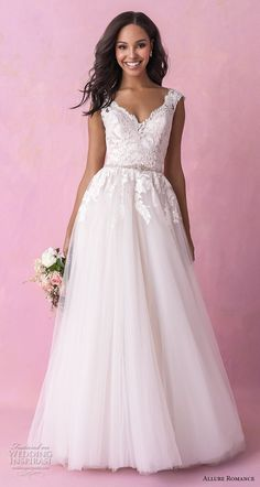 a7d3d854110 allure romance fall 2018 bridal cap sleeves v neck heavily embellished  bodice tulle skirt romantic soft