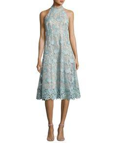 TV7FV Nanette Lepore Sleeveless Floral Lace Cocktail Dress, Mint