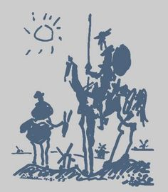 "August 10: ""don quixote"" by pablo picasso, 1955. Drawing was made for the August 18-24 issue (No. 581) of Les LETTRES françaises, a weekly French journal, in celebration of the 350th anniversary of the publication of Cervante's Don Quixote, Part I."