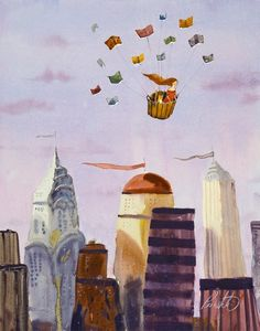 Illustrations about books - Lee White - Flying with books
