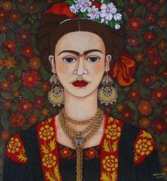 Frida Kahlo portrait with butterflies (Mixed Media), 55x60 cm por Madalena Lobao-Tello Yo he pintado esta Frida acompañada de pequeñas mariposas en el fondo y con una mariposa blanca en el centro del collar. Frida aprendió a transformar su dolor en arte, ella fue capaz de transformarse a sí mismo? La Mariposa es un animal simbólico en muchas culturas. Por un lado, sugiere la capacidad de metamorfosis y la belleza, y en segundo lugar también la naturaleza efímera de la alegría y de la ...