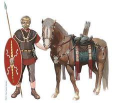 Roman Cavalryman wearing the decorated helmet found in Njimegen in the Netherlands, c. AD 40-100.