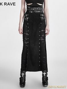 42383a93676 Punk Woman Warrior Split High Waist Handsome Long Skirt Steampunk Gothic  Black PU Leather Casual Skirts    Click picture for details