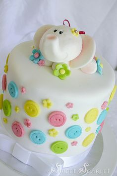 Cute Elephant Cake on top of button cake for a Shower