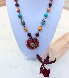 Vintage Pink Rhinestone Pearls and semi precious stones