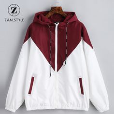 STYLE Spring Autumn Fashion Hooded Two Tone Windbreaker Jacket Zipper Pockets Casual Long Sleeves Feminino Coats Outwear - Informations About ZAN.STYLE Spring Autumn Fashion Hooded Two Tone Windbreaker Jacket Zipper Pocket - Grey Coats For Women, Long Jackets For Women, Hoodie Sweatshirts, Hoodies, Spring Dresses Casual, Dress Casual, Casual Wear, Cute Jackets, Casual Jackets