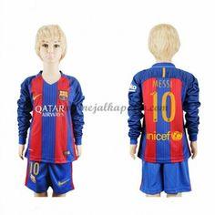 Barcelona Lasten Jalkapallo Pelipaidat 2016-17 Messi 10 Kotipaita Pitkähihainen