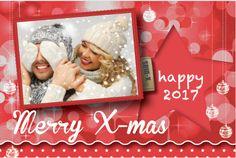 Hippe enkele foto kerstkaart in een rode tint met sterren, glitter en kerstballen. Gratis verzending in Nederland en België.