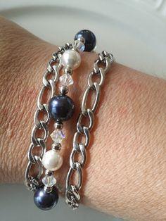 Bracelet Swarovski bleu nuit blanc et cristaux par TALBOstyle