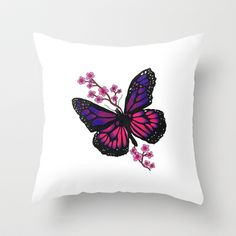 butterfly with blossom  Throw Pillow by Seymour Art - $20.00