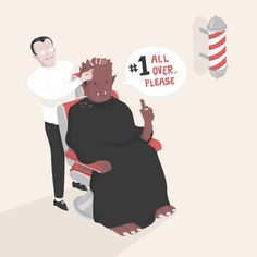 Where does the Wolfman go to get his hair cut?  Halloween inspired illustration, puts a light spin on the traditionally dark and twisted time of year.