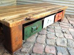 rustic industrial coffee table, www.oldsoul.com.au