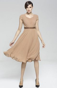 f4d3882e76 short sleeve chiffon dress beige color