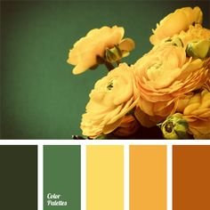 A range of flower yellow-orange shades is naturally complemented by emerald and dark green. This color solution is good for a small bathroom or a kitchen, and can be used to decorate a living room or a bedroom.