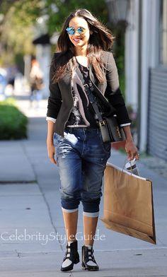 SHOP Diesel Diesel Fayza Boyfriend Jogg Jeans Seen On Zoe Saldana  #zoesaldana #celebrity #style #fashion #outfit