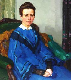 Portrait of a Lady in a Blue Dress (1908) by Leo Putz German Artist
