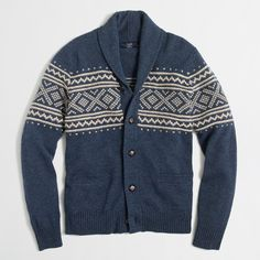 Crew Factory Fair Isle shawl-collar cardigan sweater -- awesome house sweater or ugly Christmas sweater? Shawl Collar Cardigan, Sweater Cardigan, Men Sweater, Jumper, Kids Outfits, Casual Outfits, Fashion Outfits, Mens Fashion, Fashion Clothes