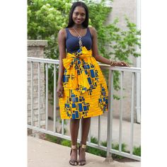 Skirts - Amsa African Print Midi Skirt With Sash (Yellow/Blue) African American Fashion, African Inspired Fashion, African Print Fashion, Africa Fashion, Ankara Fashion, African Prints, African Dresses For Women, African Wear, African Attire