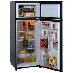 7.4 Cubic Feet Refrigerator with Top Freezer in Black w/ Platinum Finish