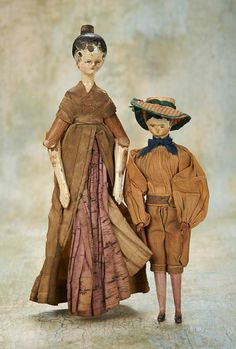 Two Grodnertal Wooden Dolls,Mother and Son,with Original Costumes cm. Peg Wooden Doll, China Dolls, Old Dolls, Dollhouse Dolls, Antique Toys, Doll Face, Vintage Dolls, Doll Toys, Old Things