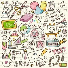 Sticker Schattige Doodle Back to School