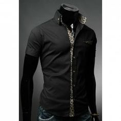 Casual Style Shirt Collar Leopard Applique Embellished Short Sleeves Polyester Shirt For Men