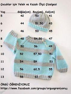 çocuklar için yelek ve kazak ölçü çizelgesi baby, kids, junior crochet knitting vest and sweater diagram